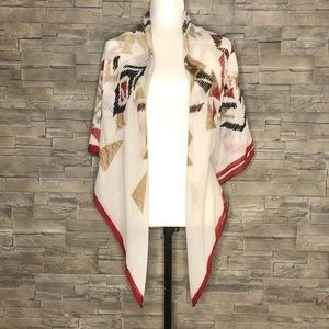 Accessories - Cream, red and tan lightweight shawl/scarf